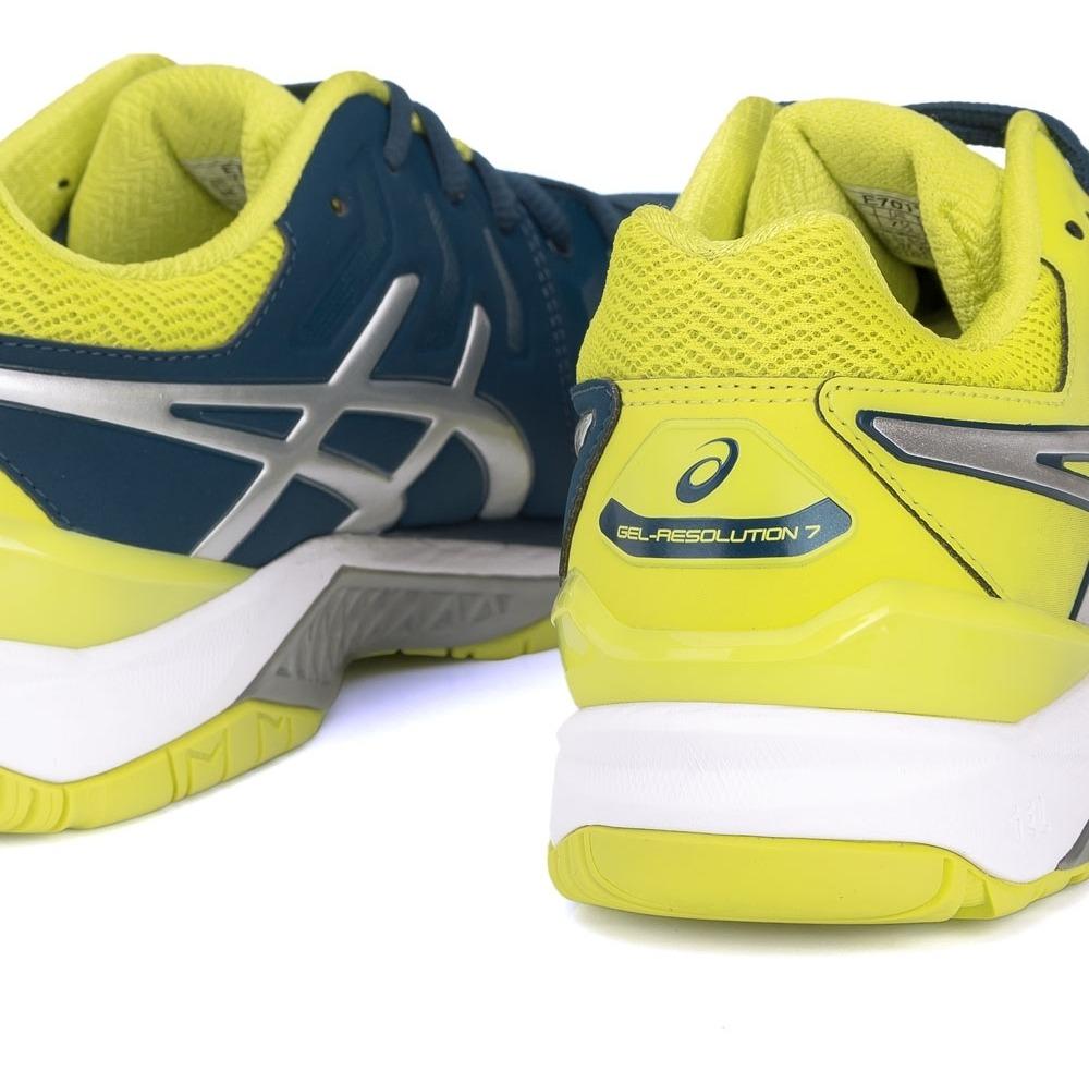 tênis asics gel resolution 7 azul petróleo e verde limão