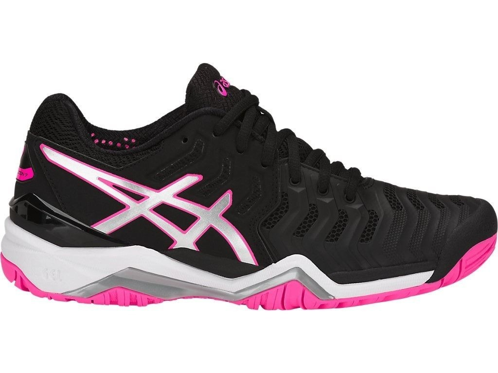 b2535dad074 tênis asics gel resolution 7 preto prata e rosa. Carregando zoom.