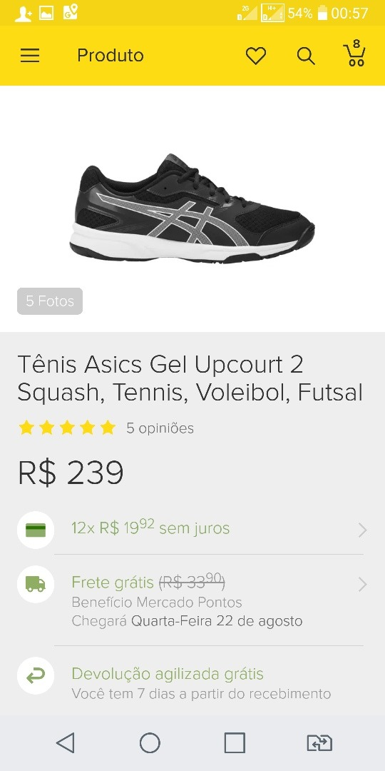 Tênis Asics Gel Upcourt 2 Squash 5be26df2e41a0
