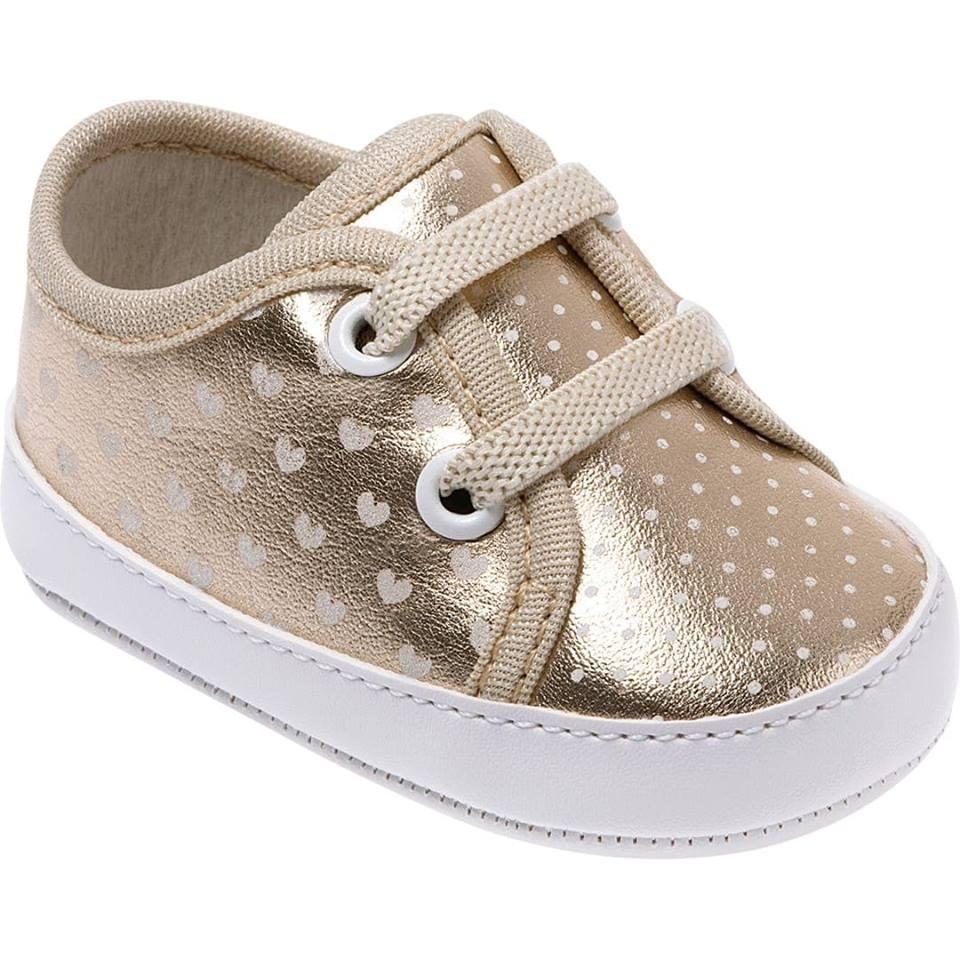 7a4e389a3a Tênis Bebê Menina Dourado Com Bolinha Pimpolho Barato - R  29