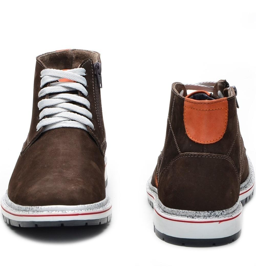a638f5826b2fe tênis bota masculino casual cano curto couro legitimo marrom. Carregando  zoom.