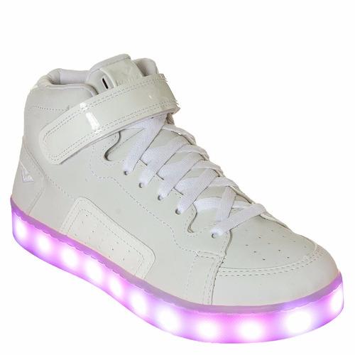 tênis bouts casual cano alto branco com luzinhas de led.