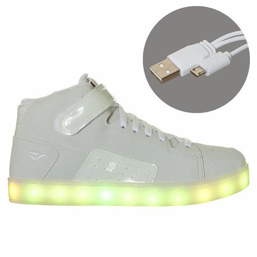 tênis bouts oxto casual cano alto branco com luzinhas de led