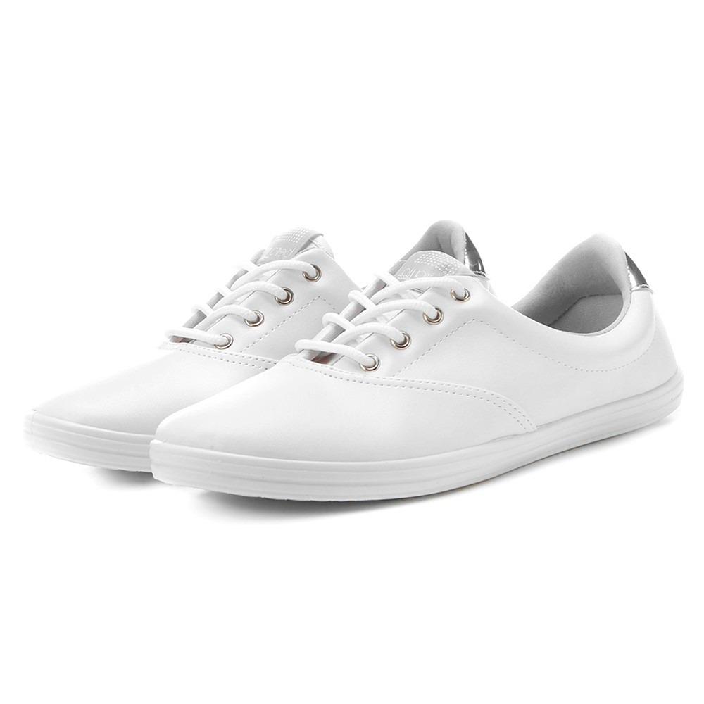 b86a46149b tênis branco e prata feminino cadarço amarrar ultraconforto. Carregando  zoom.