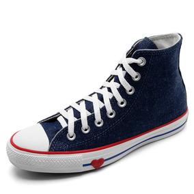 1672301f39d Tênis Cano Alto Converse Chuck Taylor All Star Jeans Coração