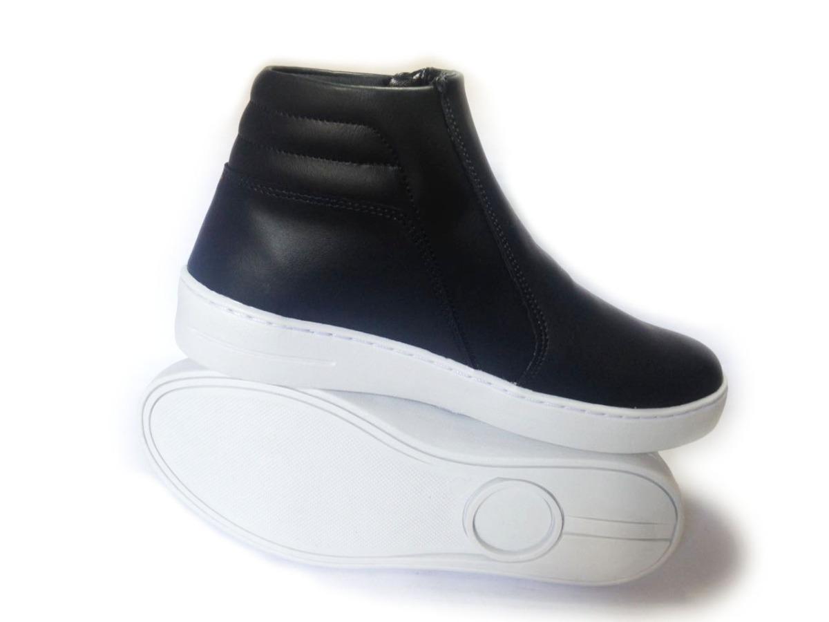 bc30037085 tênis cano alto feminino botinha modelo ziper preto couro. Carregando zoom.