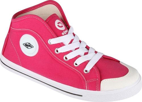 tênis cano alto lona rosa sola branca promoção botinha tenis