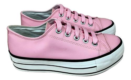 tênis cano curto feminino plataforma capricho rosa com preto
