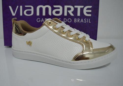 ac7ad59ede Tênis Casual Branco Dourado Via Marte 16-12415 Feminino - R  149