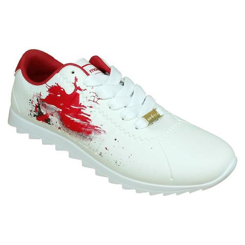 tênis casual branco e vermelho moleca tratorado frete