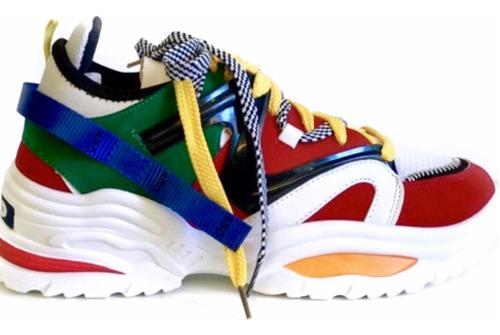tênis chunky colorido dad sneaker pro sola alta pré-venda