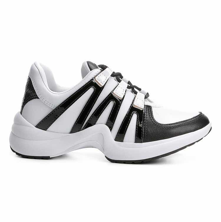 c792ab0782 Tênis Chunky Ramarim Sneaker Feminino - Branco E Preto - R  190