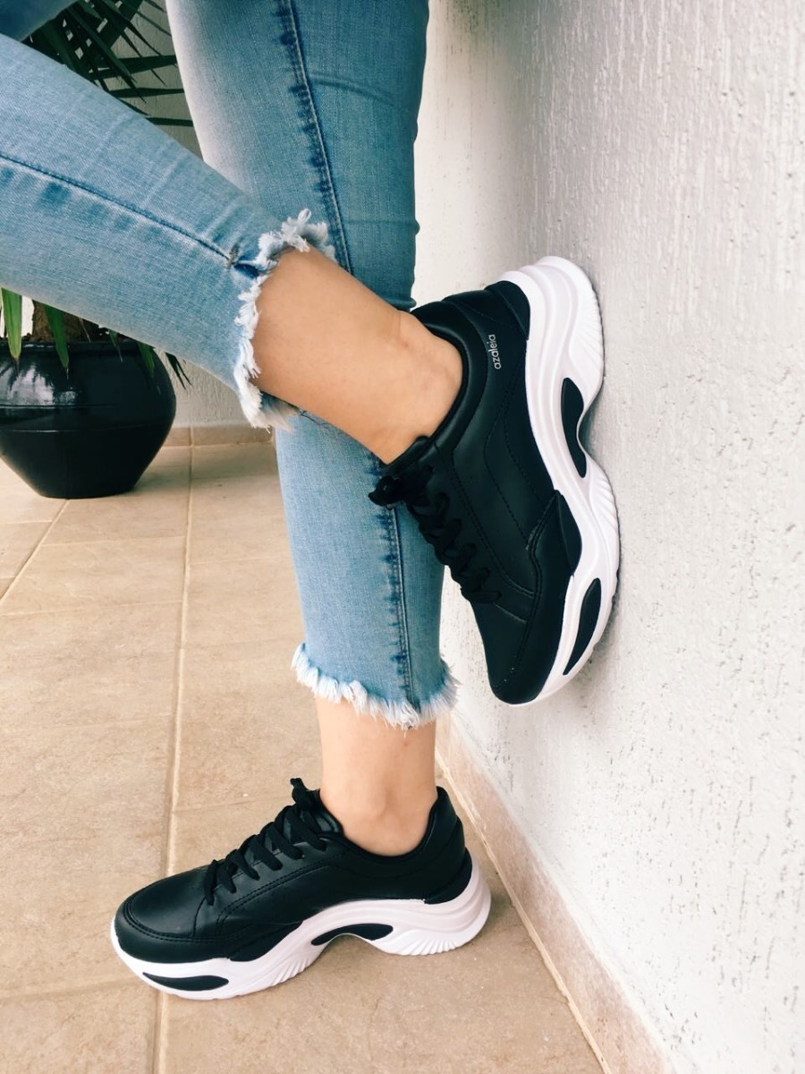db30e933584 tênis chunky sneakers preto azaleia. Carregando zoom.