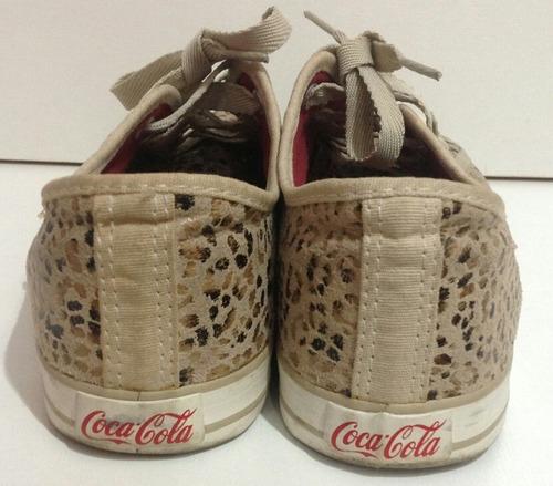 tênis coca cola animal print onça creme 38 /bom estado /raro