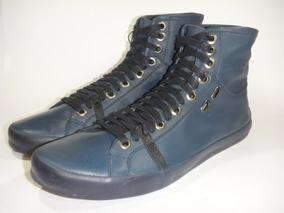 04a555c4689 Tênis Couro Calvin Klein Club N Y C Cano Alto Orig Blue Navy