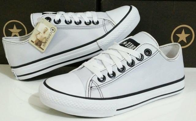 ddd8d0cf51 Tênis Couro Converse All Star Branco 100% Original! - R  229