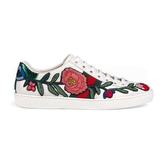 da68f55bade Tênis Couro Gucci Ace Branco Flower Bordado - Frete Grátis - R ...