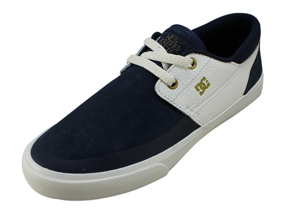 e5eea14124 tênis dc shoes skate branco azul marinho original camurça nf. Carregando  zoom.