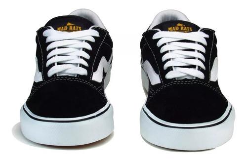 tênis de skate old school mad rats preto branco original