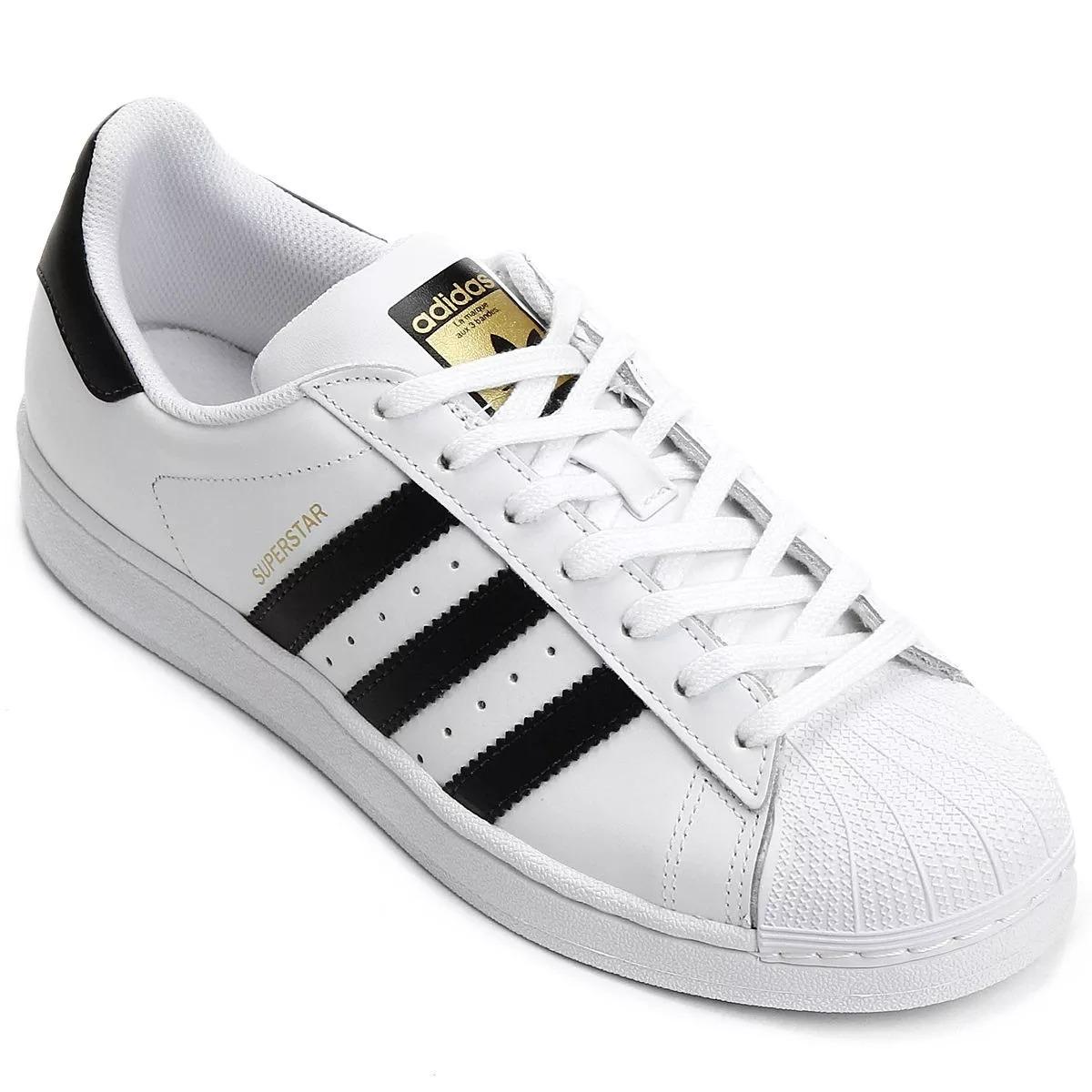 ff015180fde69 tênis feminino adidas superstar branco com preto. Carregando zoom.