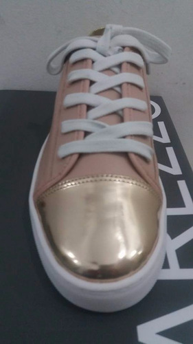 tênis feminino arezzo casual cadarço rosê com dourado