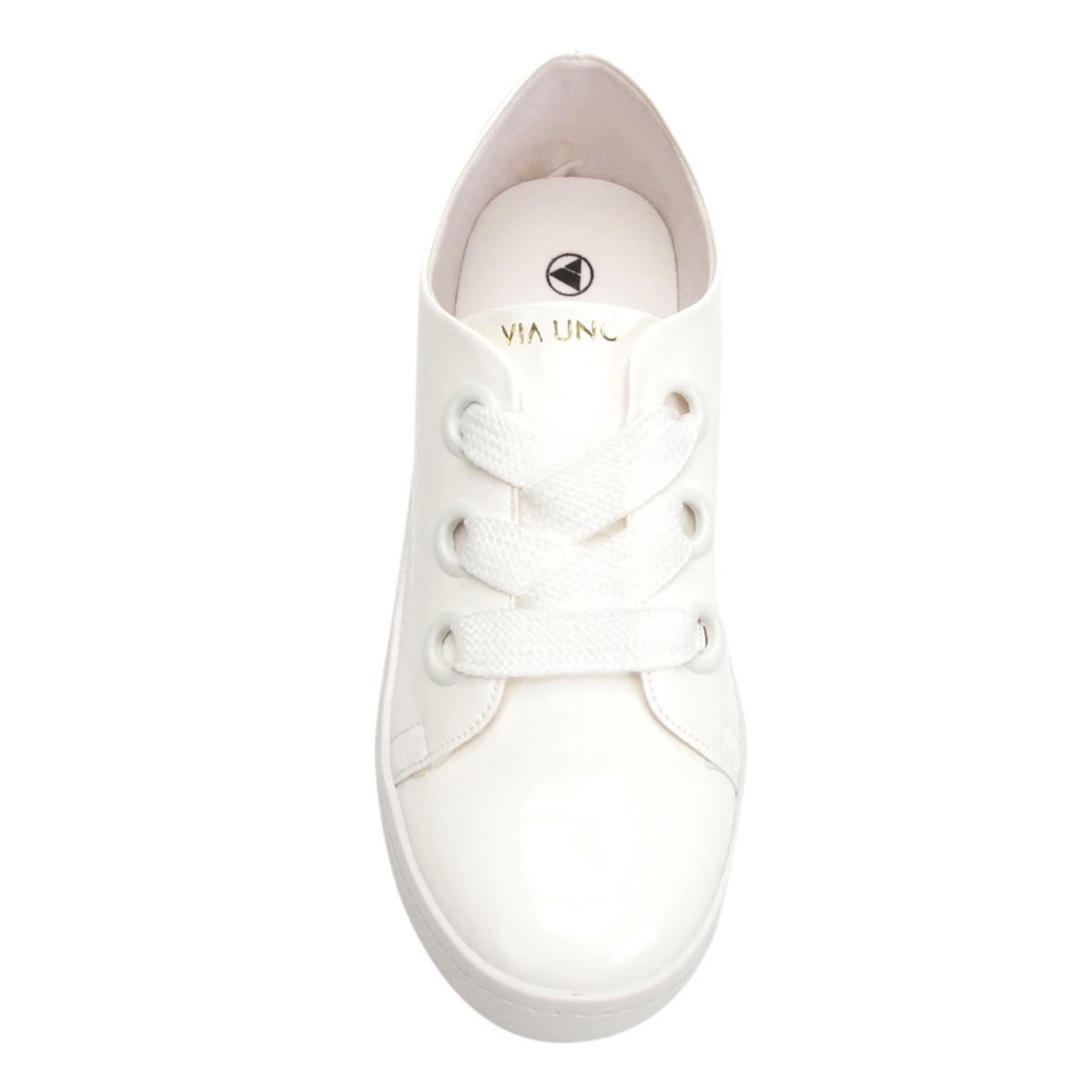 94fe5a364 tênis feminino branco verniz cadarço via uno promoção. Carregando zoom.