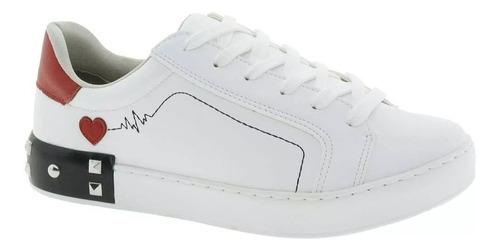 tênis feminino  branco via marte - 188808 c/ nf