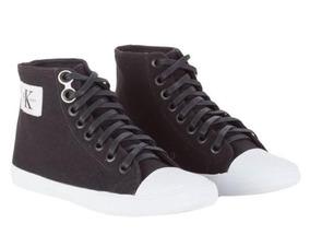 ed146f3fd9c Tênis Feminino Calvin Klein Jeans Cano Alto Lona Ck Re Issue