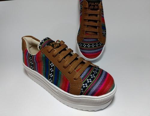 tênis feminino color tecido andino fulana de tall artesanal