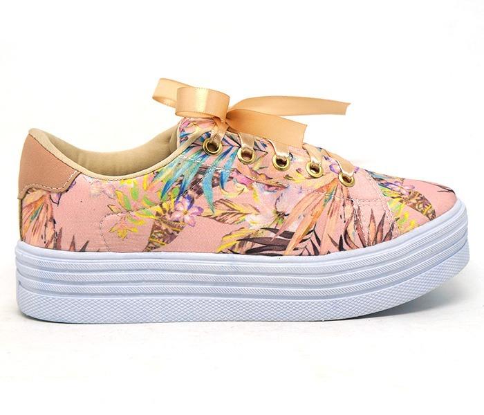 caf5a9530f7 Tênis Feminino Doma Shoes Plataforma Rosê Floral - R  179