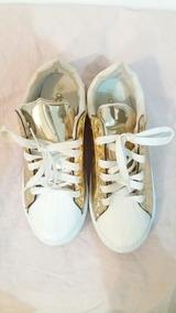 6832fc4097 Tênis Feminino Dourado Branco Metalizado Tam 34 Dafiti Shoes