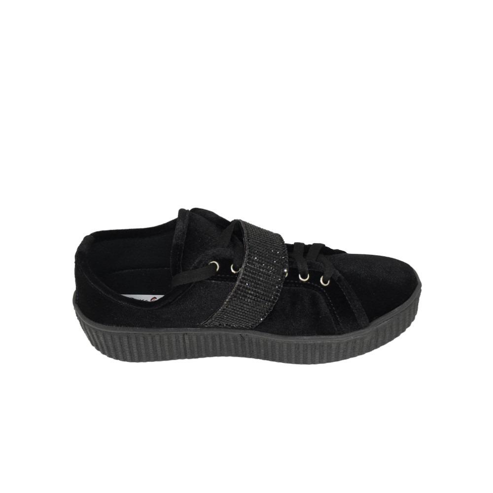 42ab973665 tênis feminino em veludo preto com brilho pedras. Carregando zoom.
