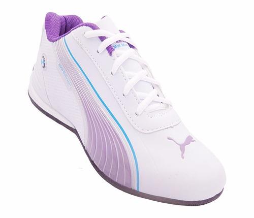 tênis feminino puma bmw motorsport branco e lilás