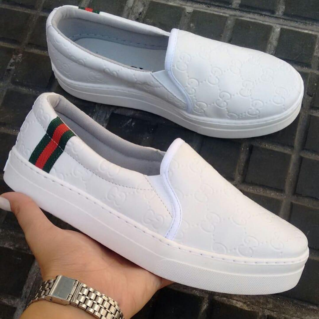 219419728a tênis feminino sapato slip on couro branco inspired. Carregando zoom.