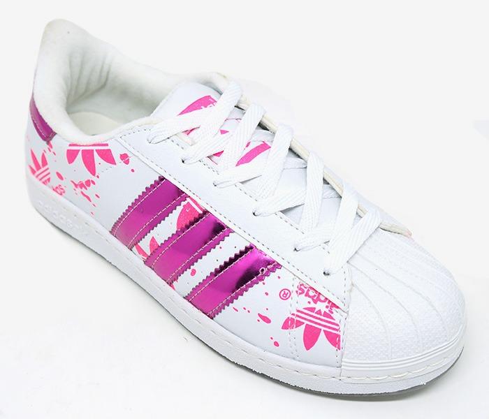 ffed359045f Tênis Feminino Superstar Branco E Pink - R  119