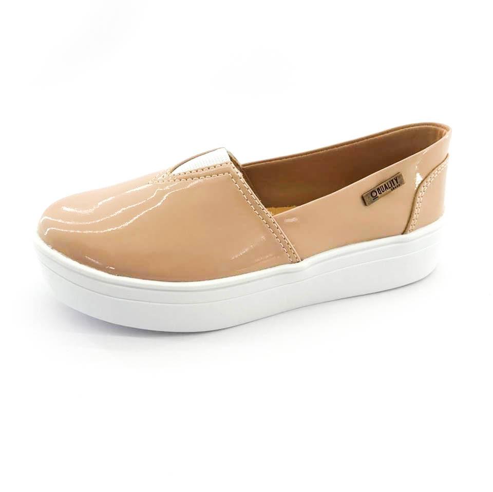 05b3a047fd tênis flatform quality shoes feminino 003 verniz bege. Carregando zoom.