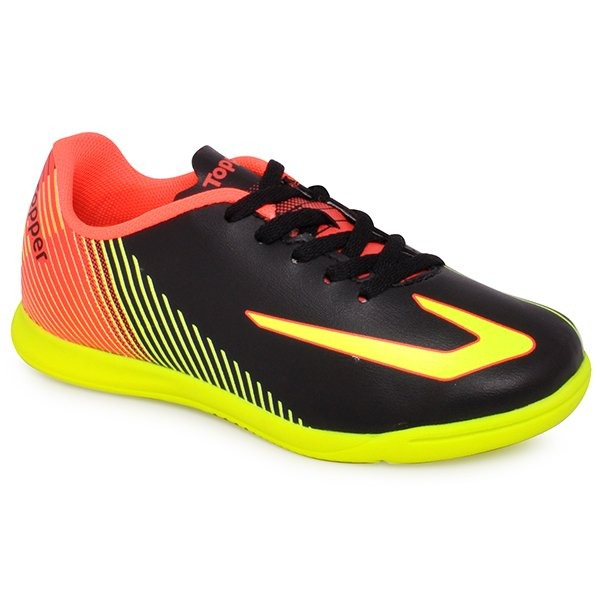 a27cae2e79 Tênis Futsal Infantil Topper Ultra Preto amarelo - R  119