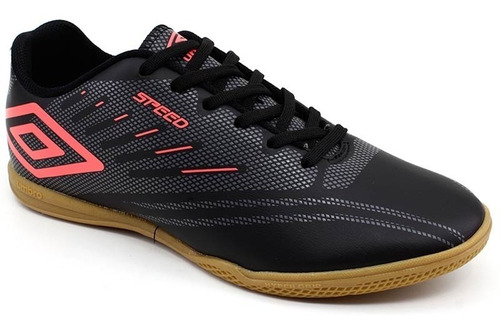 tênis futsal umbro speed iv 0f72112 preto coral loja pixolé
