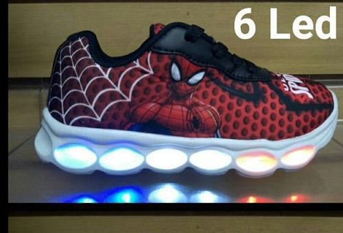 tênis homem aranha 6 leds com luzes juvenil lançamento