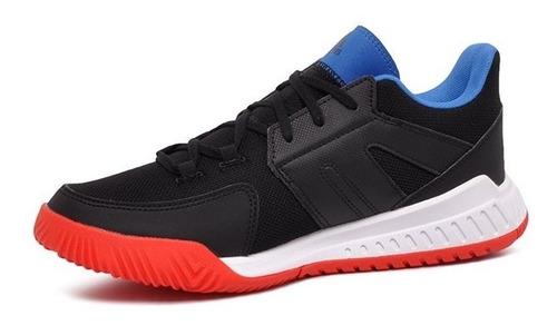tênis indoor adidas essence bd7406 preto/amarelo/vermelho