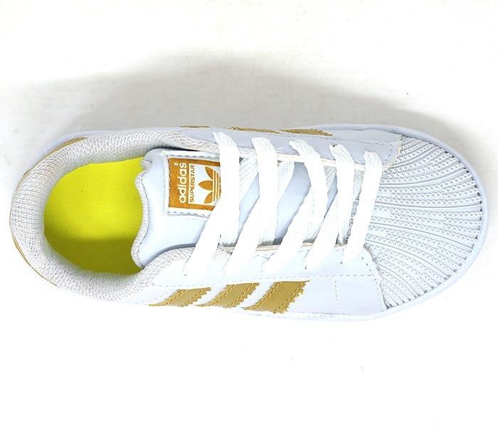 Tênis Infantil adidas Superstar Branco E Dourado Premium - R  229 fc79f03b98af7