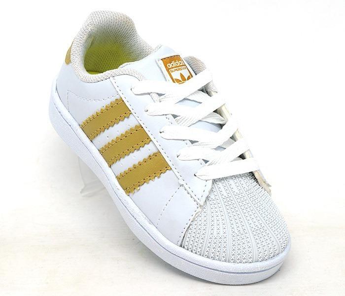 2a7650d9ba4 Tênis Infantil adidas Superstar Branco E Dourado Premium - R  229