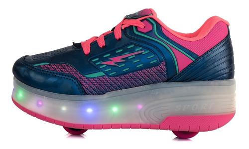 tênis infantil com duas rodinhas com luzes led patins as145