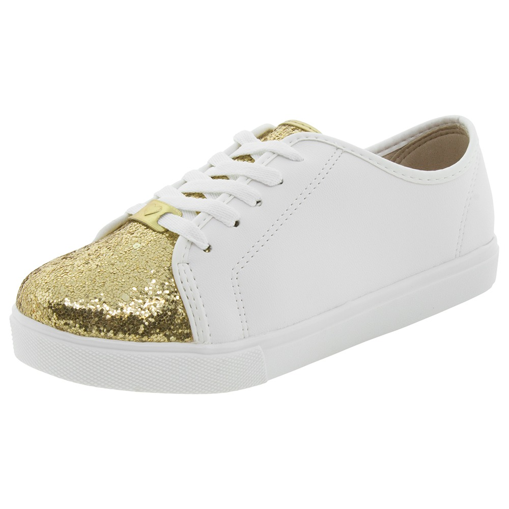 6e90925c74a tênis infantil feminino branco dourado molekinha - 2163108. Carregando zoom.
