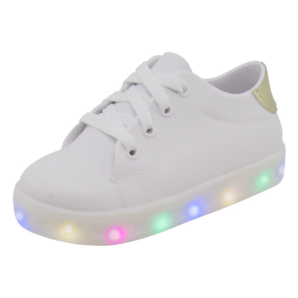 b586d0c891b tênis infantil feminino com luz branco luelua - 8501. Carregando zoom.