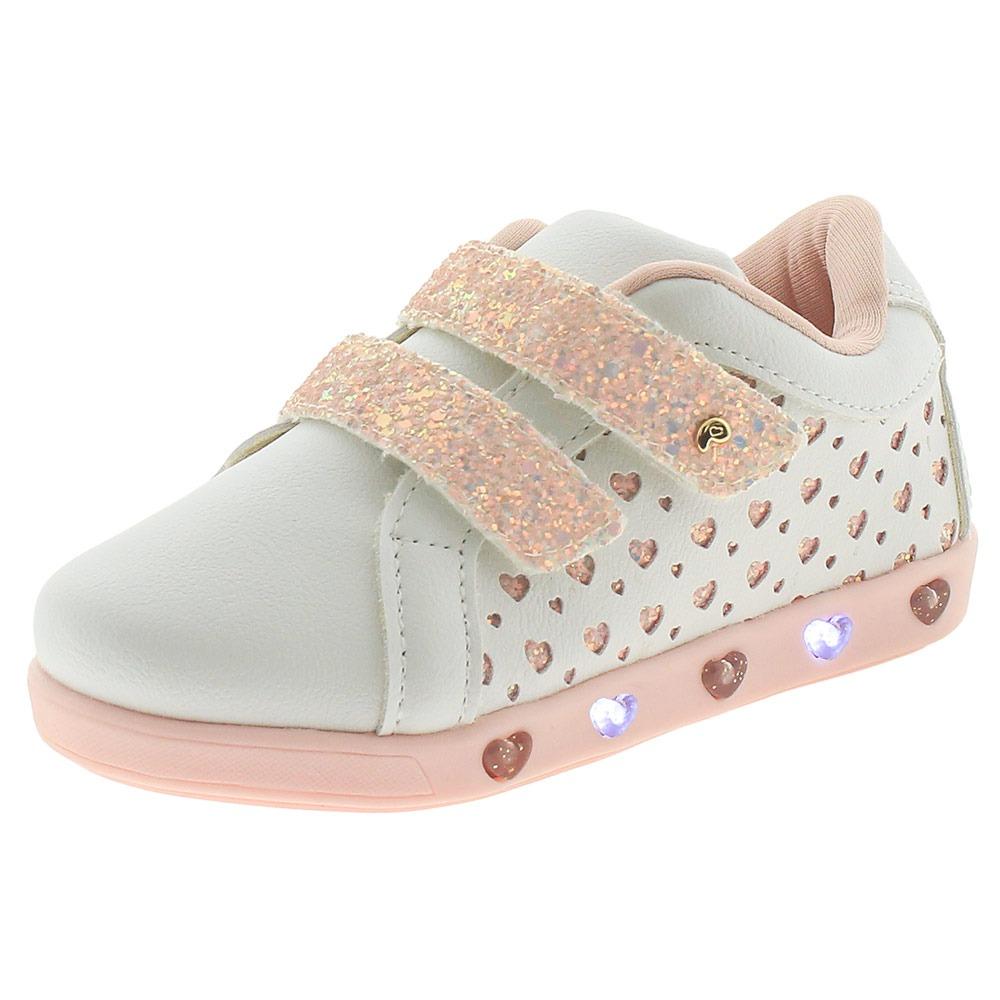 ad4a5b6a6dc tênis infantil feminino com luz pampili - 165070 branco rosa. Carregando  zoom.