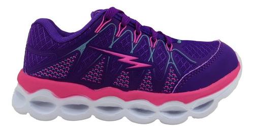 tênis infantil feminino com luzes led  cores promoção as015