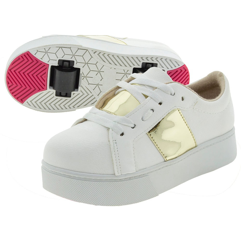 c27e8543c58 tênis infantil feminino com rodinha branco dourado molekinha. Carregando  zoom.