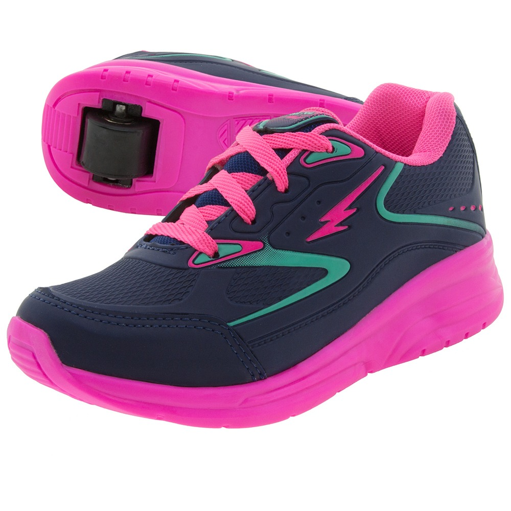 27cf98728 tênis infantil feminino com rodinha marinho/pink minipé - mp. Carregando  zoom.