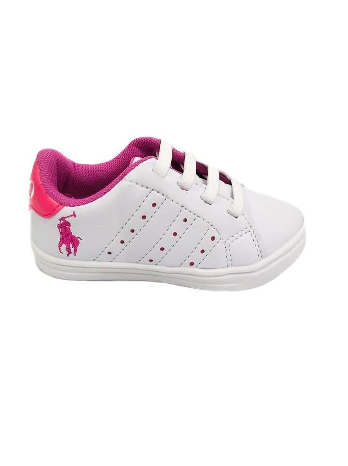 d94c49941a0eb tênis infantil feminino da polo na cor branco com rosa-24. Carregando zoom.